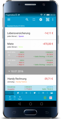 Haushaltsbuch-App-Android-Tagessaldo